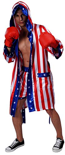 Maxim Party Supplies Adult Satin American Flag Boxing Costume with Robe and Shorts for ()