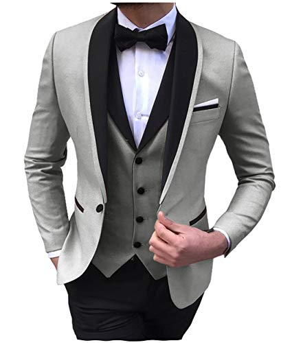 Aesido Men's Suit Formal 3 Pieces Regular Fit Shawl Lapel Solid Prom Tuxedos Wedding Groomsmen (Blazer+Vest+Pants) 2019(Silver Grey,34US)