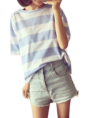 Rotondo Newlife Camicie Unita Top Sciolto Corta Azzurro Shirt Moda Manica Donna Camicetta Shirts Tinta T Casual Maglietta Blouse Collo Estivi z8qr8xI
