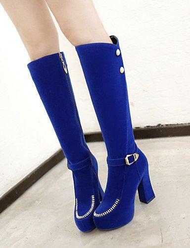 Rund Chunky Fashion Fleece Ferse Stiefel Plattform Schuhe Stiefel Casual Beute Citior Beute Damen Damen wPzqSpY