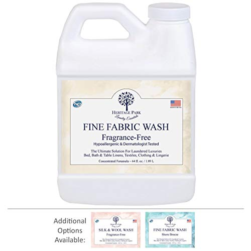 Heritage Park Laundry Wash for Delicate Fine Fabrics - Fragrance Free & Hypoallergenic (64 Oz. Bottle) - Concentrated for High Efficiency (HE) Machines
