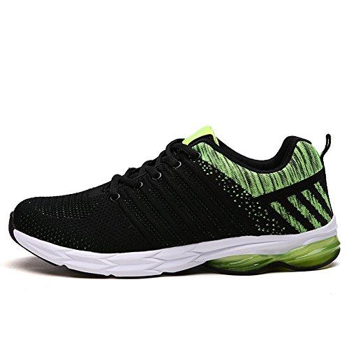 Chaussures De Course Pour Hommes Fexkean Sport Respirant Baskets Running Loisir Vert