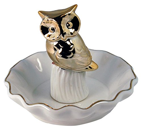 UG StealStreet MGE-253 4 Decorative Ceramic Ring Holder with Metallic Owl, Gold Color