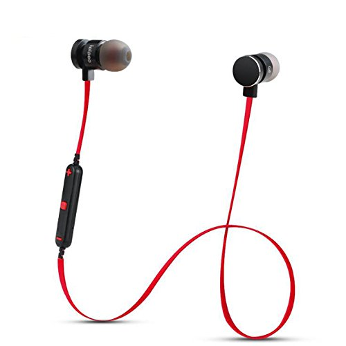 In-Ear Earphones With Microphone Metal Headphones Stereo Headset Super Bass Earphone for iPhone Samsung Phones (Wireless Bluetooth Red)