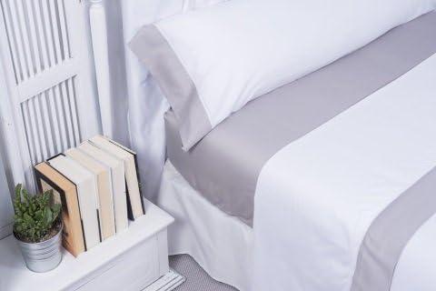 Clara Vidal - Juego de sábanas Ascel 100% algodón 300 Hilos Color Blanco/Gris Oferta (Cama 150 cm): Amazon.es: Hogar