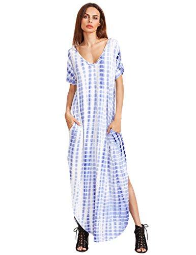 MAKEMECHIC Casual Maxi Short Sleeve Split Tie Dye Long Dress Blue S