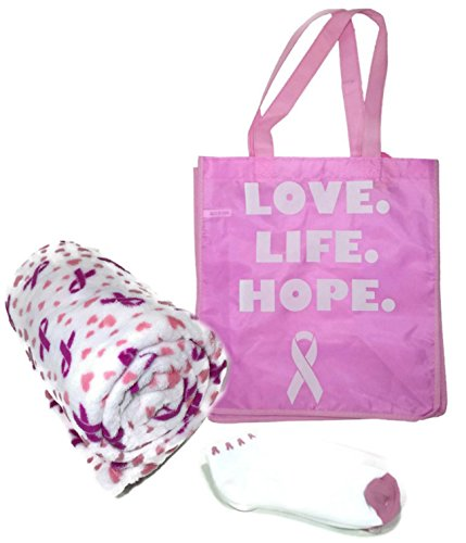 Breast Cancer Awareness Pink Ribbon Chemo Gift Bundle - Plush Throw 50 x 60 Socks Love Live Hope Tote - By Breast Size Race