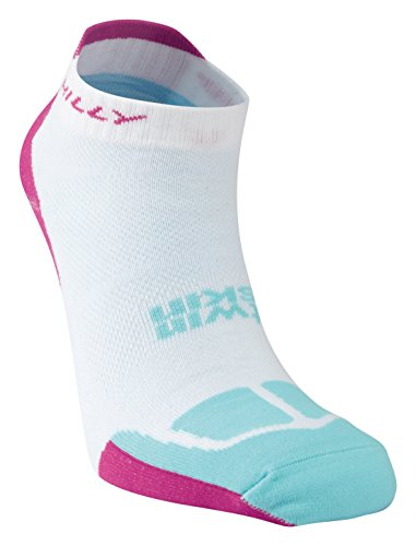 Hilly No Show Running Twin Skin Socklet, White/Fluro Pink/Aquamarine, Small with a sock ring]()