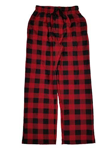 (Mens Red & Black Plaid Microfleece Sleep Pants Lounge Pants Pajama Bottoms S)