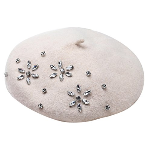 Ealafee French Sexy Beret Off White Wool Beret Women Beanie Cap Hat For Teens