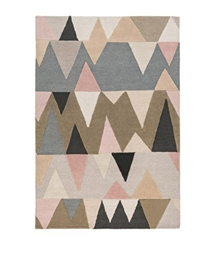 2' x 3' Abstract Mountains Blush Pink, Peanut Butter Brown and Stone Gray Hand Tufted Wool (Stone Gray Area Rug)
