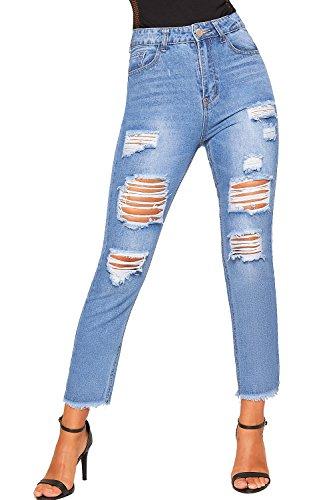 WearAll - Femmes Extrme Dchirs Afflig Stonewashed Toile De Jean Mom Jeans Nouveau Dames Large Jambe - 34-42 Bleu
