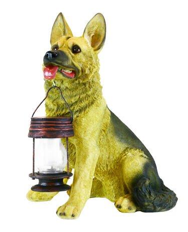 Hongville German Shepherd Dog Animal Figurine with Lantern Solar ()