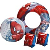 Kids Children Boys Disney Spider-Man Swim and Inflatable Beach Outdoor Swimming rubber ring, armbands and beach ball, Set by Pick & Pay Wholesaler