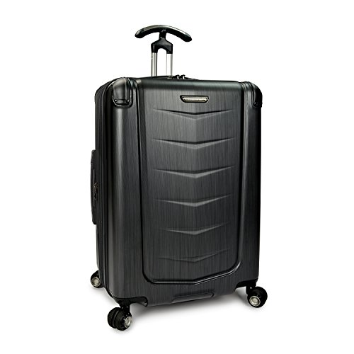 Traveler's Choice Silverwood 100% Polycarbonate Durable Hardshell Expandable Dual Cyclone Wheels 26-inch Medium Checked Spinner Luggage Suitcase, Brushed Metal