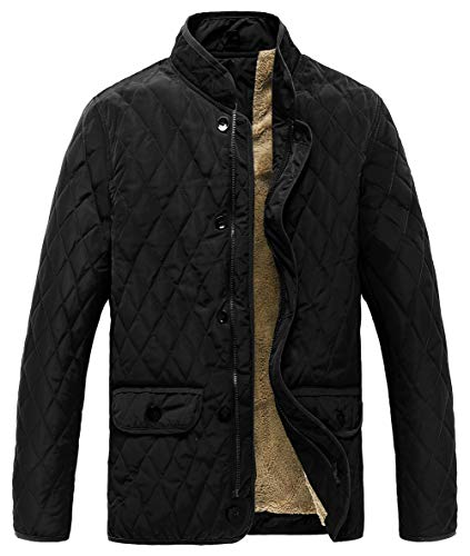 MADHERO Men Quilted Puffer Jacket Lightweight Fleece Lined Padded Coat Black Size -