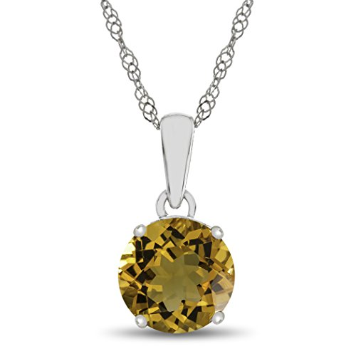 Gold Round Citrine Pendant (Finejewelers 10k White Gold 7mm Round Citrine Pendant Necklace)