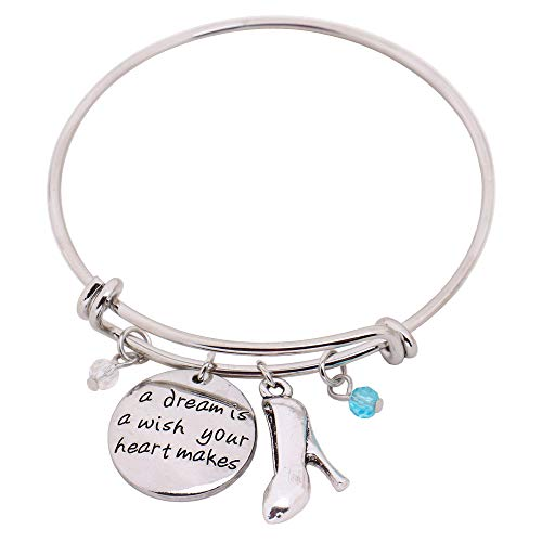 hanreshe Bangle A Dream is a Wish Your Heart Makes Adjustable DIY Bracelet Message Charm Expandable Wire Bangle ()