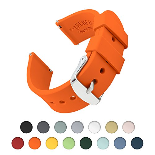 Archer Watch Straps | Silicone Quick Release Soft Rubber Replacement Watch Bands for Men and Women, Watches and Smartwatches (Portland Orange, (Orange Rubber Watch)