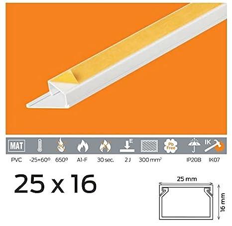 Canal de câ ble 20 m PVC Couleur Blanc Autocollant 15 x 10, 16 x 16, 20 x 10, 25 x 16, 25 x 25, 30 x 30, 40 x 40, 40 x 25, 40 x 40 16x 16 20x 10 25x 16 25x 25 30x 30 40x 40 40x 25
