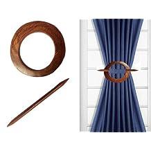 Set of 2 Round Wooden Curtain Tiebacks Holdbacks Binds by IndiaBigShop