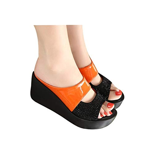 Women Platform Wedges Sandals Slippers Open Toe Fish Mouth Thick Bottom Shoes Summer Outdoor Beach Shoes Orange