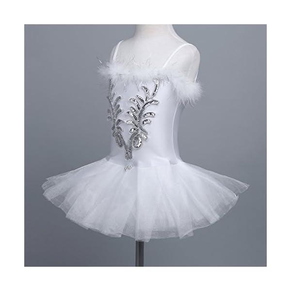 CHICTRY Kid's Girls Sequins Beads Flower Fairy Ballerina Dance Costume Ballet Tutu Dress with Long Gloves and Hair Clip Set
