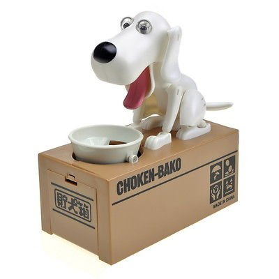 Berkshire Hungry Eating Dog Coin Bank Money Saving Box Piggy Bank   Solid White