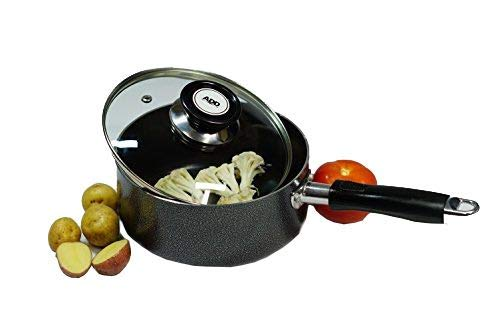 MODIN Hard Aluminum Alloy Nonstick Saucepan with Glass Lid and Riveted Handle 3-Quart(8 inch Diameter x 4 inch Tall) by Modin (Image #1)