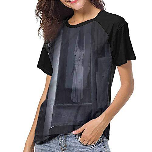 Men T Shirts Fashion,Halloween,Ghost Girl on Stairway S-XXL Women Casual Girl Tops]()