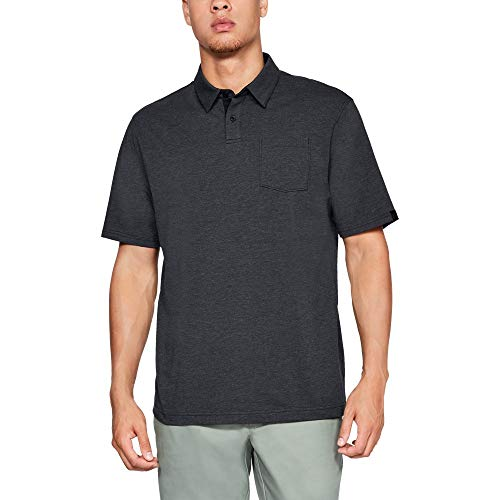 Under Armour mens Charged Cotton Scramble Golf Polo, Black (001)/Black, Large ()
