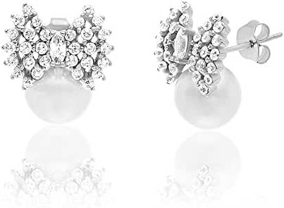 CLEARANCE Sterling Silver Cubic Zirconia Freshwater Pearl Bow Stud Earring