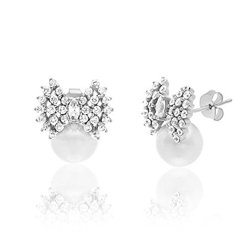 18K White Gold Over Sterling Silver Cubic Zirconia Freshwater Pearl Bow Stud Earring - 18k White Gold Bow