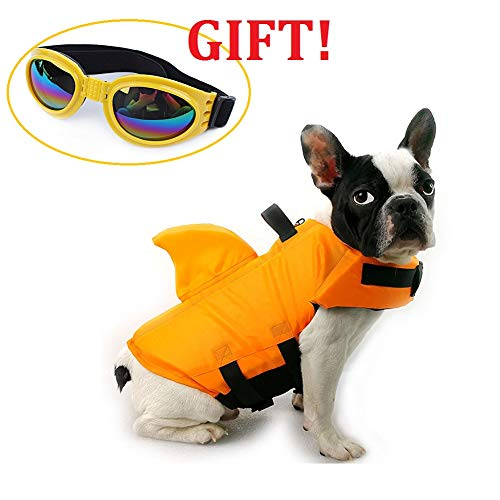 CheeseandU Dog Life Jacket Shark, Pet Swimming Vest Jacket- Adjustable Preserver Coat Jacket with Free Pet UV Goggles Sunglasses Gift for Small Medium Dog Puppy Doggie Surfing Boating, Orange