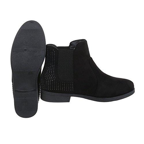 Women's Boots Block Heel Chelsea Boots at Ital-Design Black zdk8NqWc9