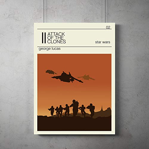 Star wars Episode II Attack of the Clones Poster, Attack of the Clones minimalist prints, star wars home decor, All Prints avialable in 9 SIZES and 3 type of MATERIALS