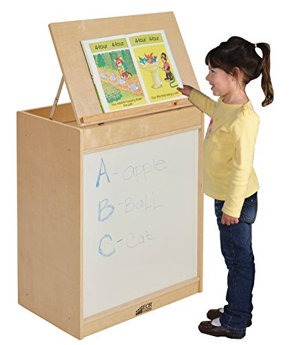 ECR4Kids Birch 3-in-1 Book Display Easel with Dry-Erase Board and 6 Compartment (Big Book Easel Storage)