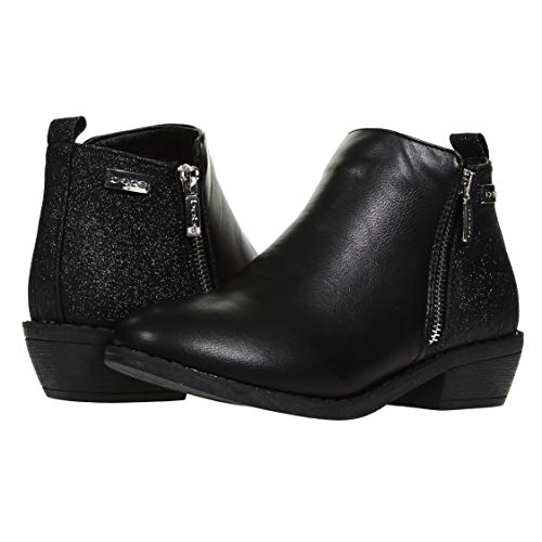 bebe Girls Ankle Boots Size 2 Round Toe Designed Glitter Panels Side Zippers Casual Dress Slip-On Walking Low Mid-High Fashion Shoes Black by bebe (Image #5)