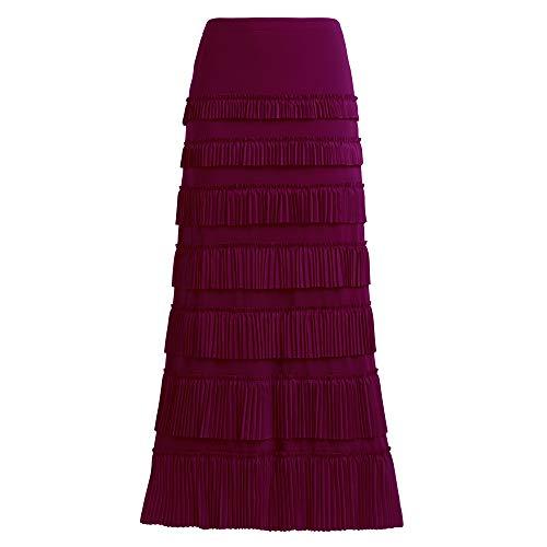 (GATHY Women's 7 Tiered Boho Layered Pleated Ruffles Waterfall Maxi Skirt (Large, Wine red) )