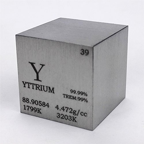 1 inch 25.4mm Varnished Yttrium Metal Cube 99.99% 73g Engraved Periodic Table