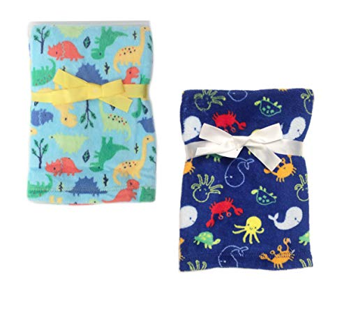 2-Pack Super Soft Plush Lightweight Furry Fleece Dinosaur Under The Sea Beach Ocean Animals Baby Blue Boy Blanket Twins Gift Set
