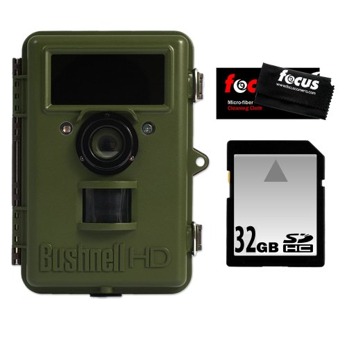 Bushnell NatureView Cam 119440 HD Max Trail Camera with Color LCD with 32GB Digital Memory Card and Micro Fiber Cleaning Cloth