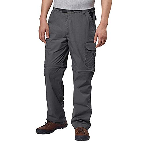 BC Clothing Mens Convertible Stretch Cargo Hiking Pants Shorts, Zippered Pockets (Medium x 30L, Charcoal Grey) ()