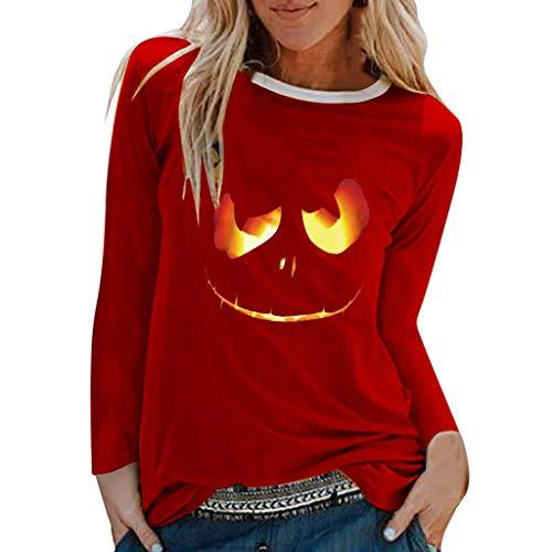 Halloween Costumes for Women, Limsea Long Sleeve Blouse Sweatshirt Plus Size Print Shirts O-Neck Red