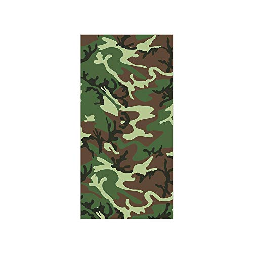(3D Decorative Film Privacy Window Film No Glue,Camo,Classical American Commando Uniform Inspired Pattern Forest Tile,Forest Green Light Green Brown,for Home&Office)