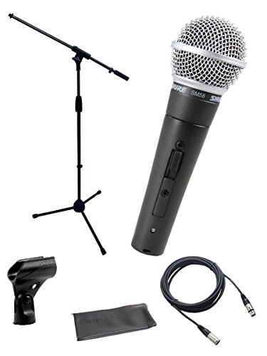 Shure SM58-S Cardioid Dynamic Handheld Wired Microphone with ON / OFF Switch. - Bundle With On-Stage MS7701B Euro-Boom Microphone Stand, And 25' XLR Microphone Cable (Ms7701b Euro Boom Microphone Stand)