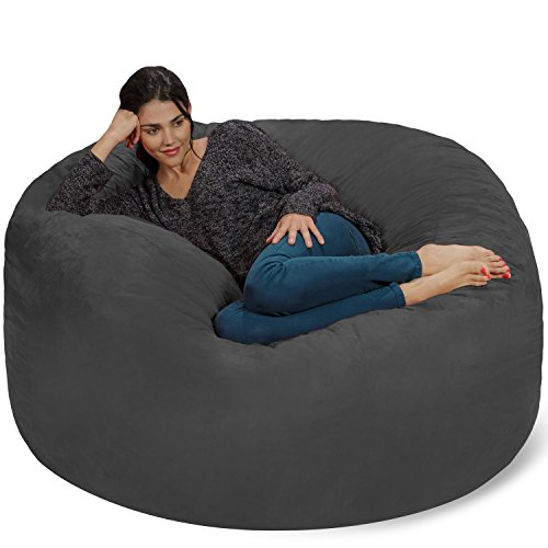 Chill Sack Bean Bag Chair: Giant 5' Memory Foam Furniture Bean Bag - Big Sofa with Soft Micro Fiber Cover - Charcoal (Oversized Beanbags)
