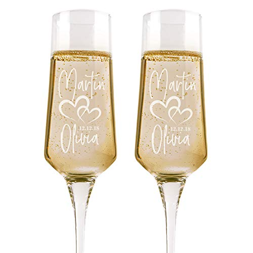 - Set of 2, Personalized Wedding Glasses For Bride and Groom, Personalized Wedding Champagne Flutes, Etched Wedding Toasting Glasses - Heart to Heart Glasses - Customized Wedding Gift #2