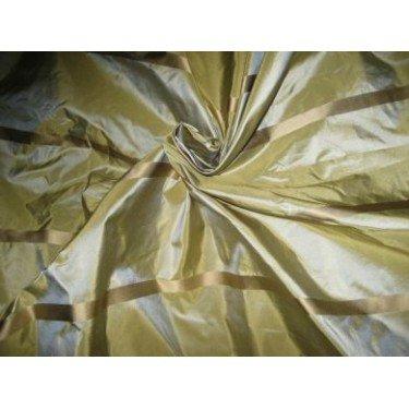 (Olive Green Iridescent Silk Taffeta with Gold Satin Stripe 54