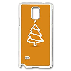 Galaxy Note 4 Case, Creativity Design Minimal Flat Christmas Tree Illustration Orange Ideas Print Pattern Perfection Case [Anti-Slip Feature] [Perfect Slim Fit] Plastic Case Hard White Covers for Samsung Galaxy Note 4